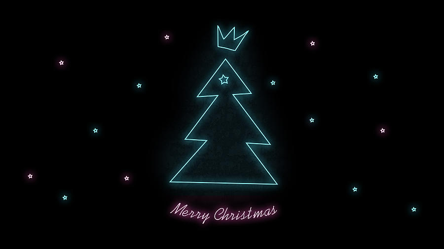 4 merry christmas blue pink tree on black background abstract neon wallpaper elena sysoeva