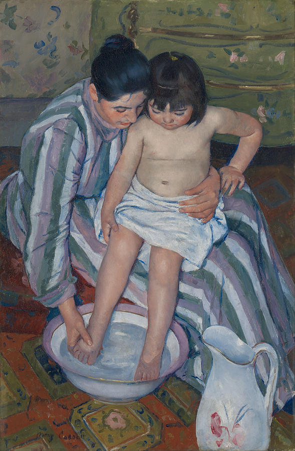 Child Painting - The Childs Bath by Mary Cassatt