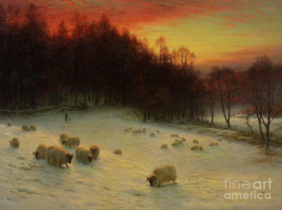 Winter Scene Painting - When the West with Evening Glows by Joseph Farquharson