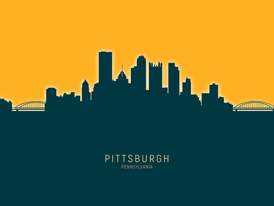 Pittsburgh Digital Art - Pittsburgh Pennsylvania Skyline by Michael Tompsett