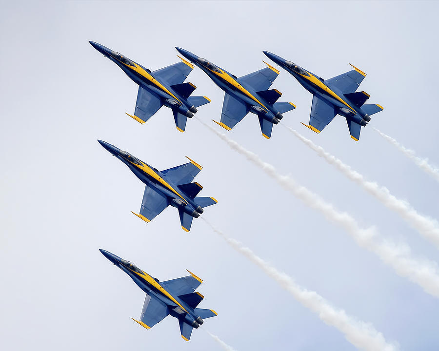 5 Blue Angel Jets In Formation by Gigi Ebert