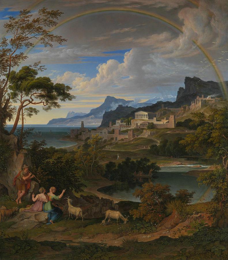Joseph Anton Koch Painting - Heroic Landscape With Rainbow 5 by Joseph Anton Koch
