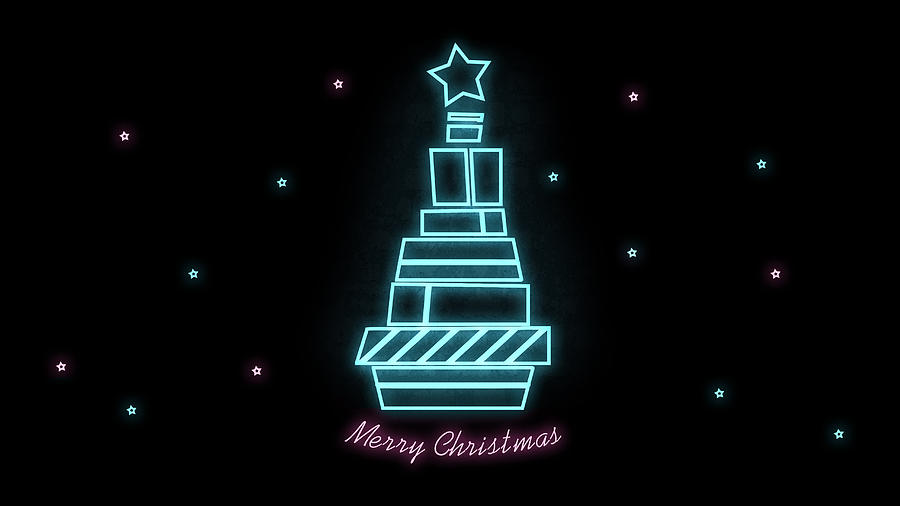 5 merry christmas blue pink tree on black background abstract neon wallpaper elena sysoeva