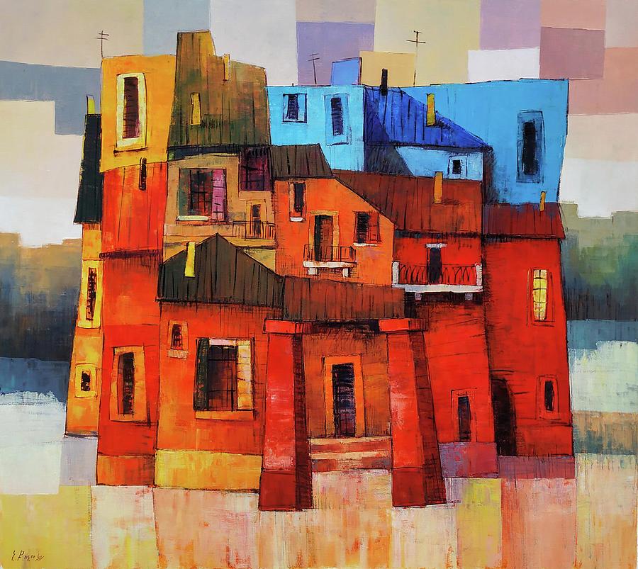 Impressionistic Painting - Modern Cityscape by Narek Qochunc