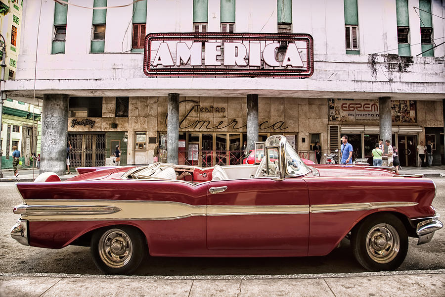50's Classic Car with Vintage Neon Sign by Gigi Ebert
