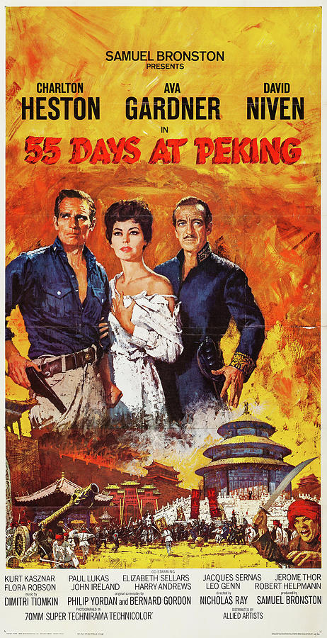 55 Days At Peking Poster 1963 Mixed Media