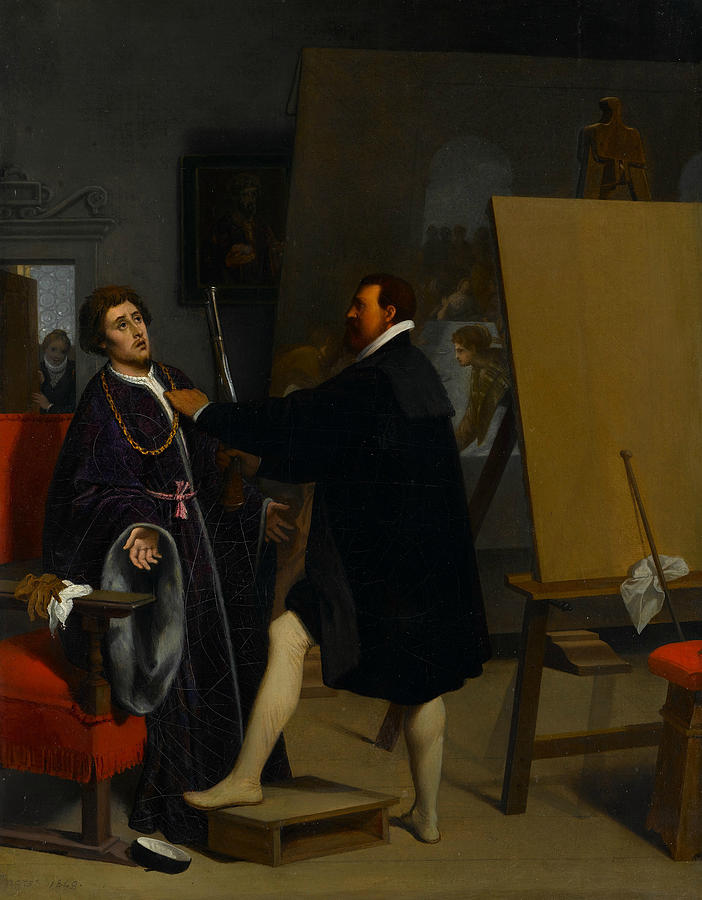 Aretino in the Studio of Tintoretto by Jean-Auguste-Dominique Ingres