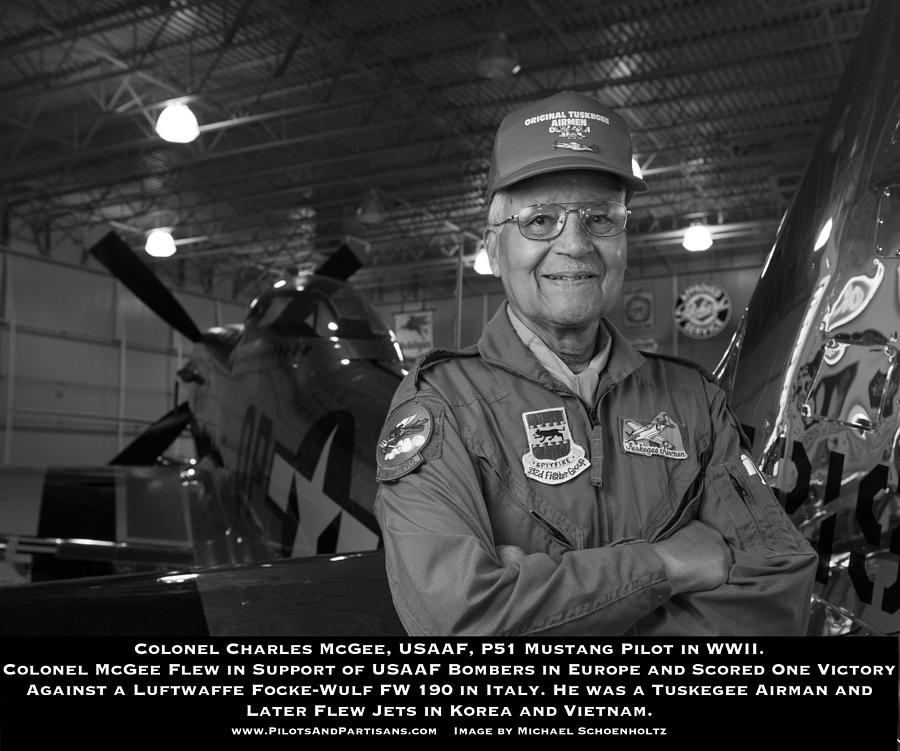 Tuskegee Airman Photograph - Colonel Charles McGee, USAAF Red Tailed P-51 Fighter Pilot, Tuskegee Airman by Pilots And Partisans Then and Now