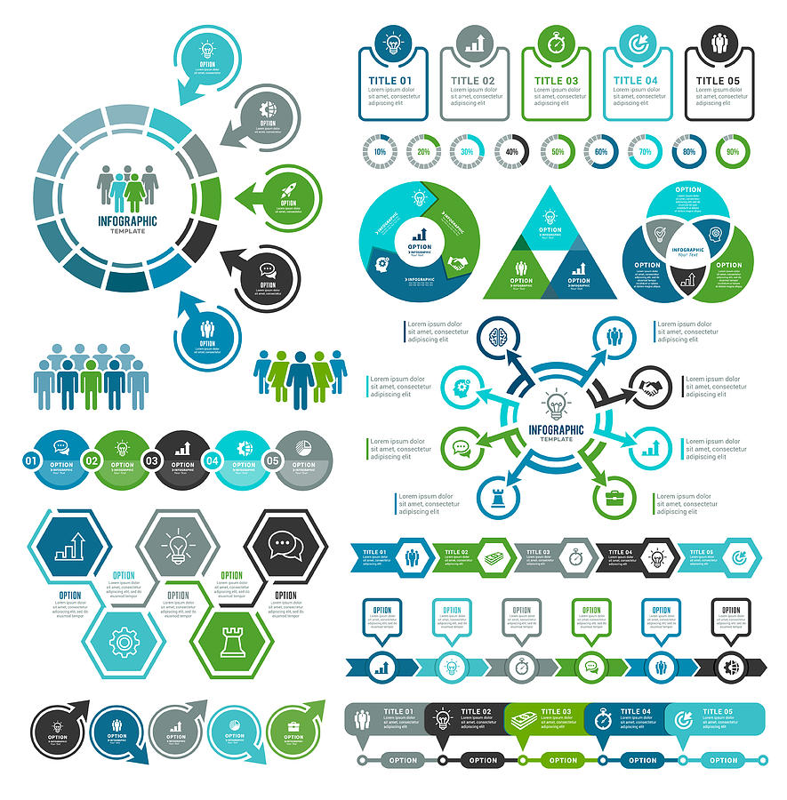 Set of Infographic Elements Drawing by Artvea