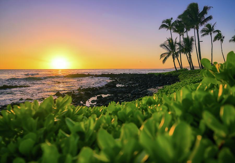 Sunset Over The Coast Of Kauai, Hawaii Photograph