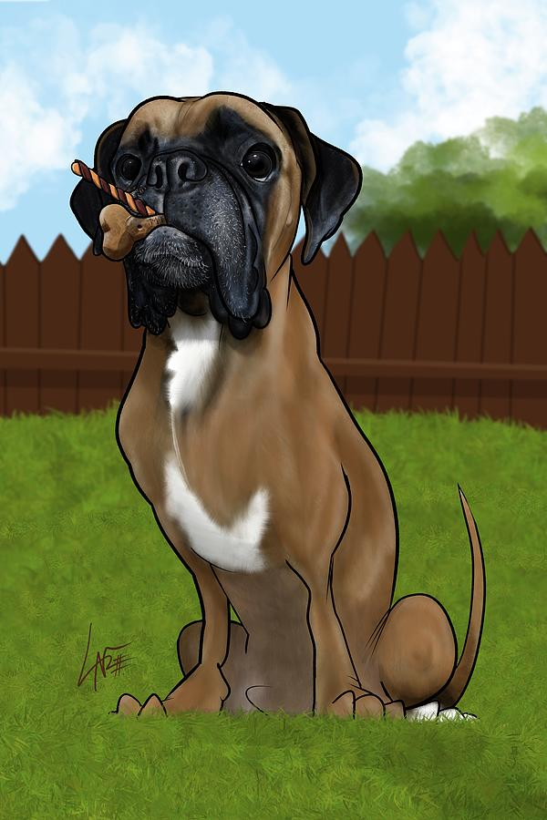 Calabro Drawing - 6034 Calabro by Canine Caricatures Custom Merchandise