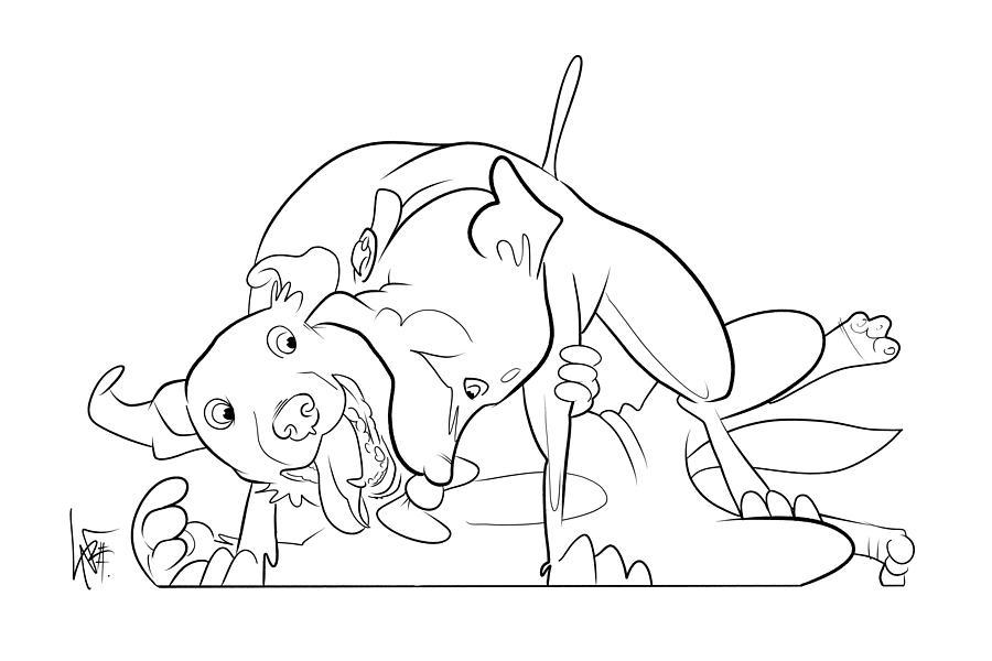 6036 Krikorian Daffy And Tux Drawing