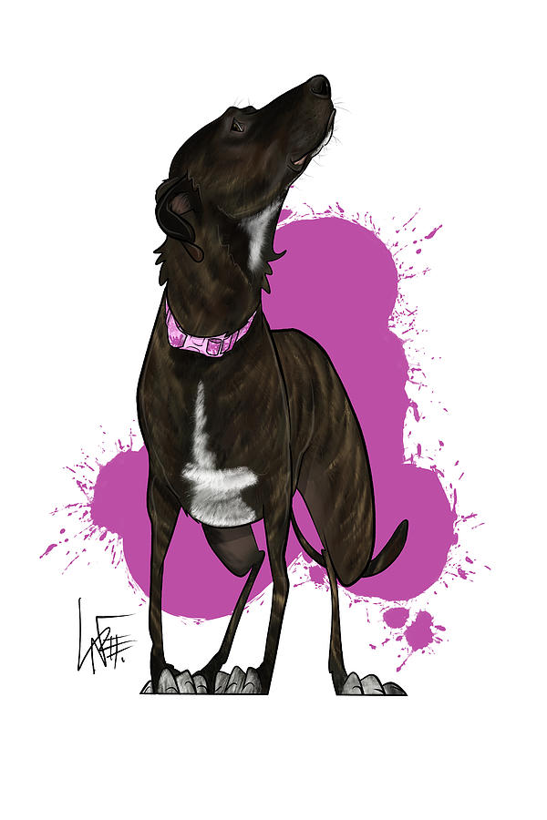 Pet Portrait Drawing - 6142 Hilby by Canine Caricatures Custom Merchandise