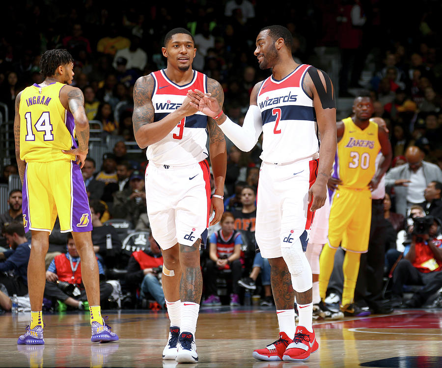 John Wall and Bradley Beal Photograph by Ned Dishman