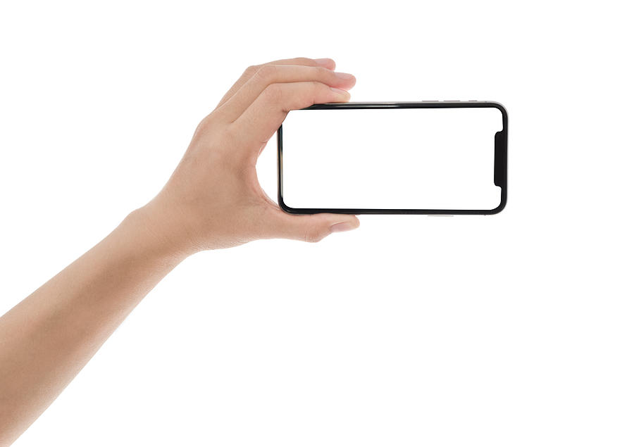 Close Up Hand Hold Phone Isolated On White, Mock-up Smartphone White Color Blank Screen Photograph by Issarawat Tattong