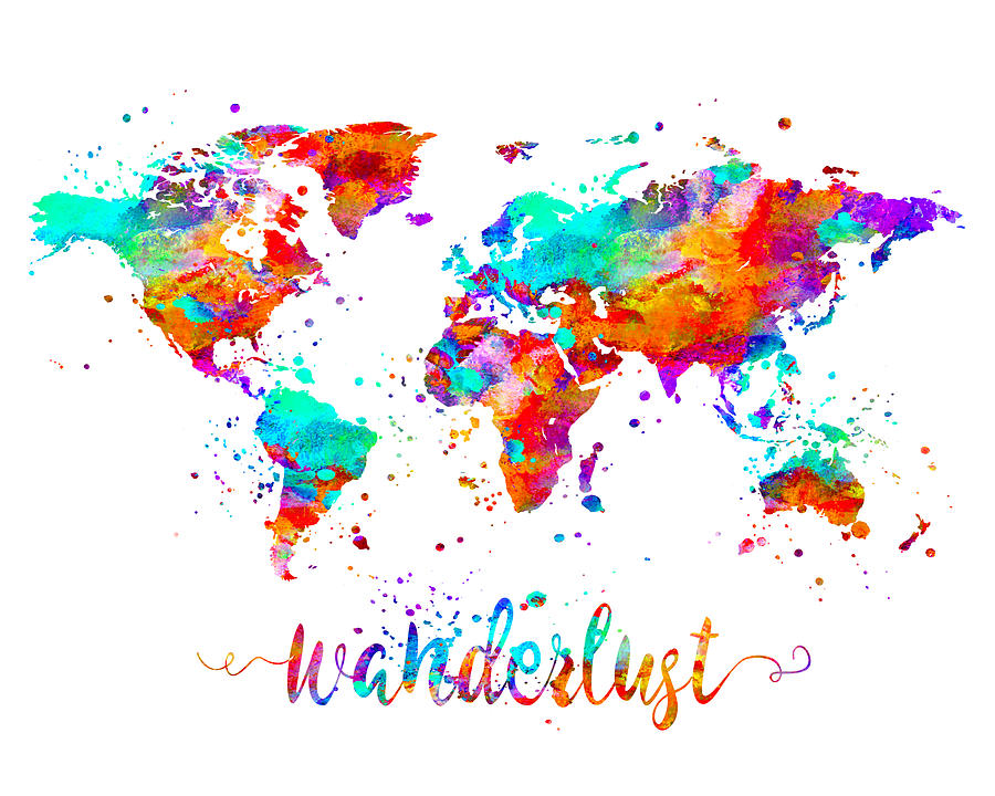 Wanderlust Painting - Wanderlust World Map Art by Zuzi s