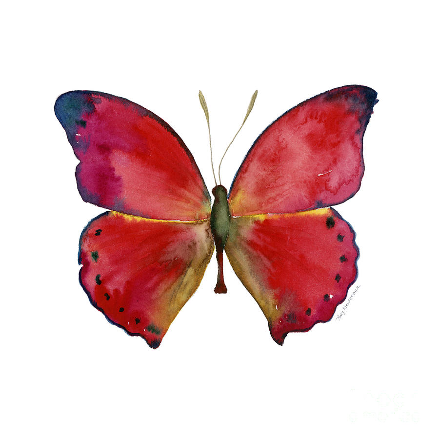 83 Red Glider Butterfly Painting