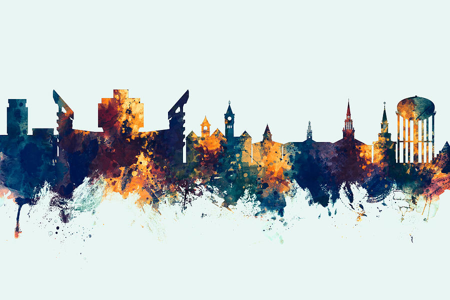Auburn Digital Art - Auburn Alabama Skyline by Michael Tompsett