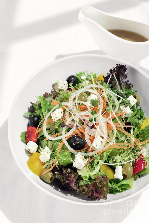 Greek Salad With Feta Cheese And Olives With Citrus Vinaigrette Photograph
