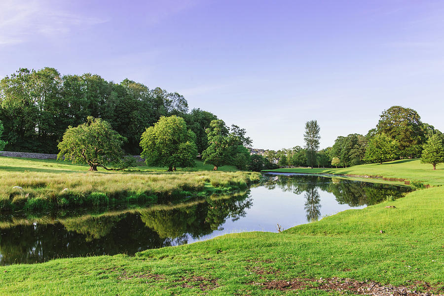 a bend in the River Bela at Dallam Park, Milnthorpe, Cumbria, England Photograph