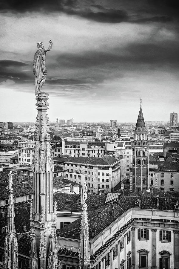 A Birds Eye View Of The City Of Milan Italy Black And White Photograph