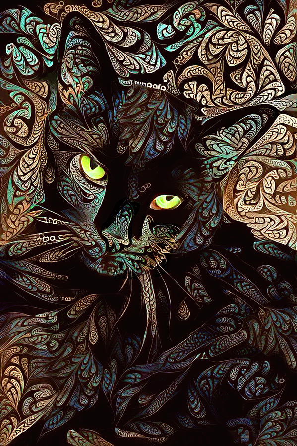 A Black Cat Named Speedy - Brown and Blue by Peggy Collins