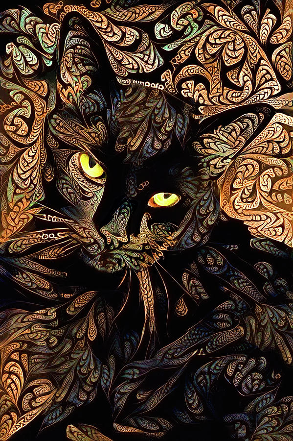 A Black Cat Named Speedy - Umber Version by Peggy Collins