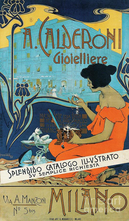 Diamond Painting - A Calderoni Gioielliere, Milan, 1898 by Adolfo Hohenstein