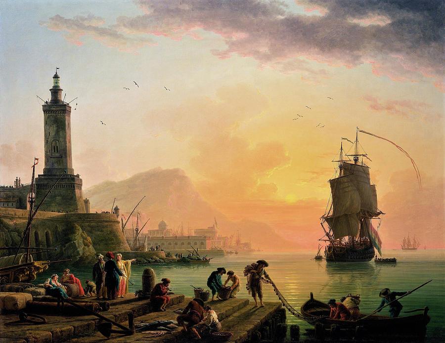Claude Joseph Vernet Painting - A Calm At A Mediterranean Port - Digital Remastered Edition by Claude Joseph Vernet