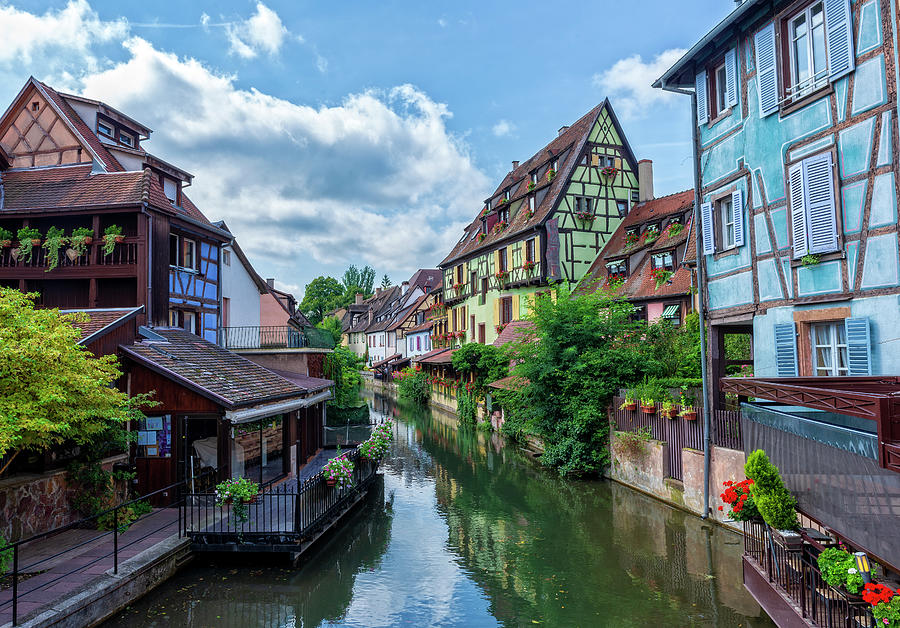 A Canal In The Village Of Colmar In France Photograph