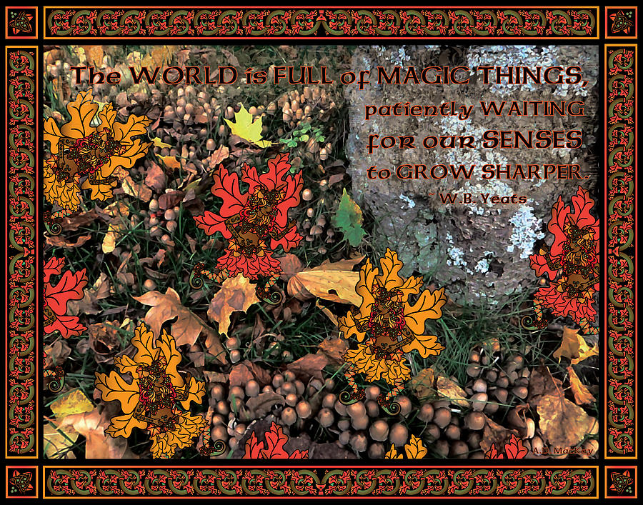Autumn Digital Art - A Celtic Fairy Ring by Celtic Artist Angela Dawn MacKay