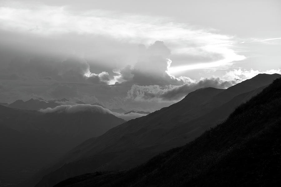 Black And White Photograph - A Cloudy Sunset In The Aran Valley In Black And White by Vicen Photography