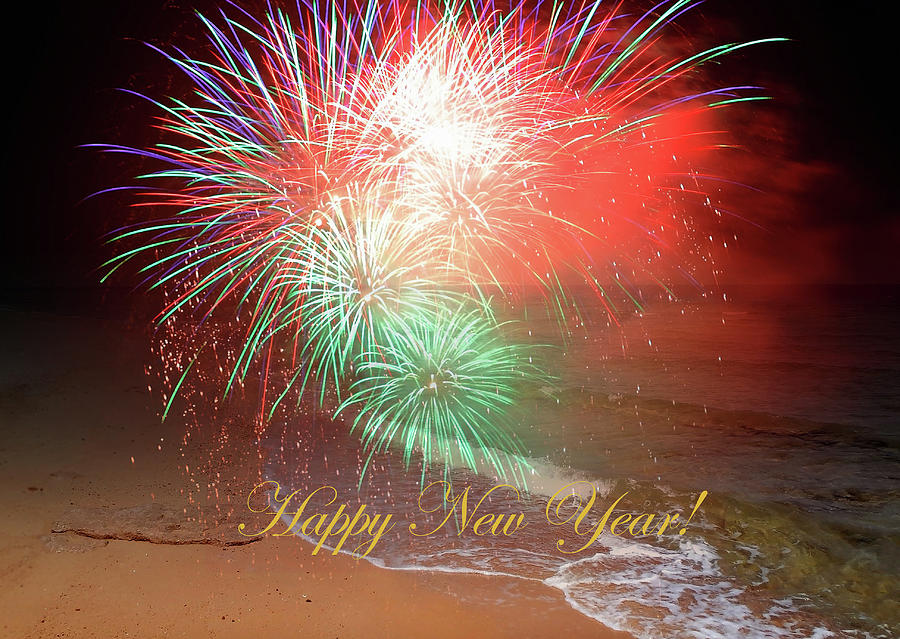A Colorful Happy New Year By The Seashore In Dreamland Mixed Media