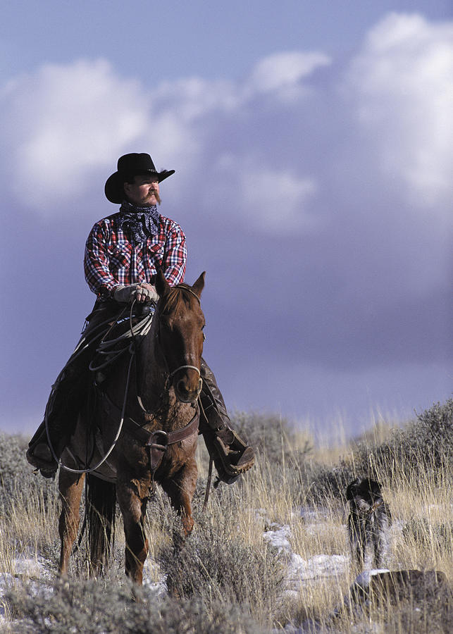 A Cowboy Poses On His Horse With His Dog Photograph by Photodisc