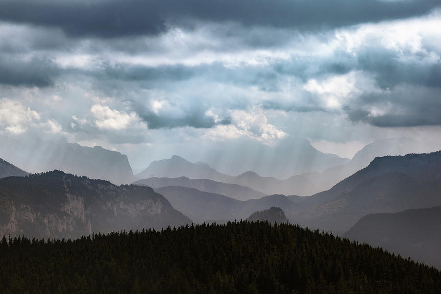 Mountains Photograph - A Curtain of Light and Clouds by Alexander Kunz