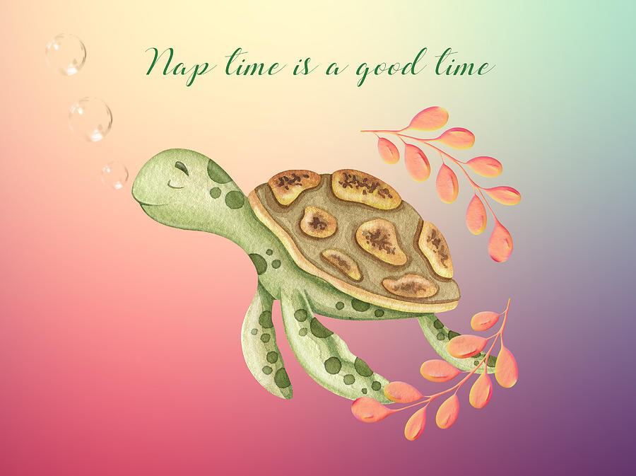 A Cute And Lovely Baby Sea Turtle Taking A Nap Mixed Media