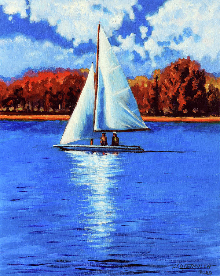 Sail Boat Painting - A Day Sailing by John Lautermilch