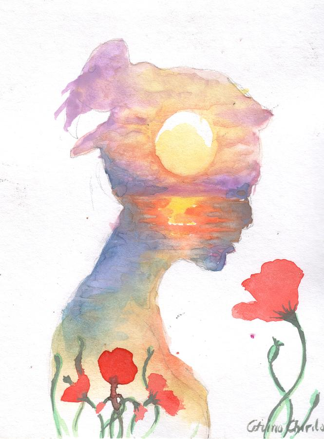 Dream Painting - A dream about the sea and the red poppies by Chirila Corina