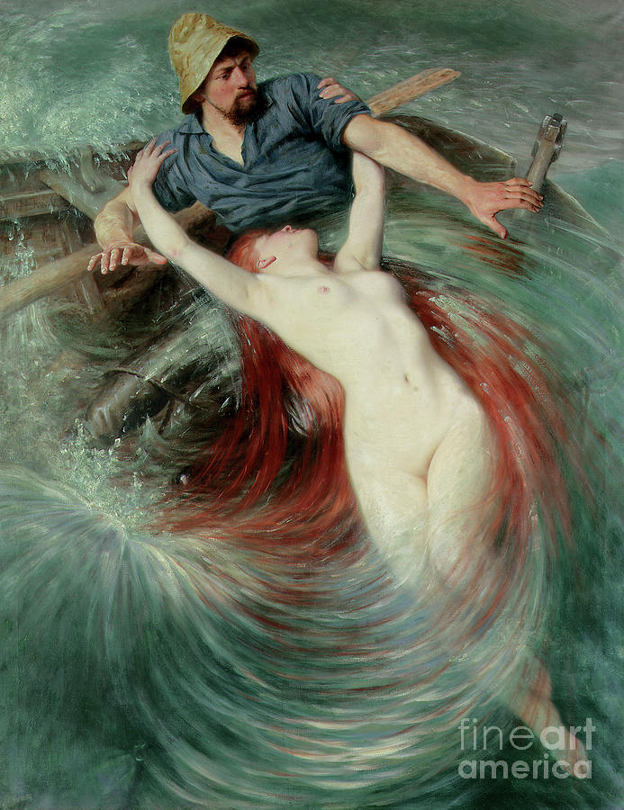 Nude Painting - A Fisherman engulfed by a Siren by Knut Ekwall