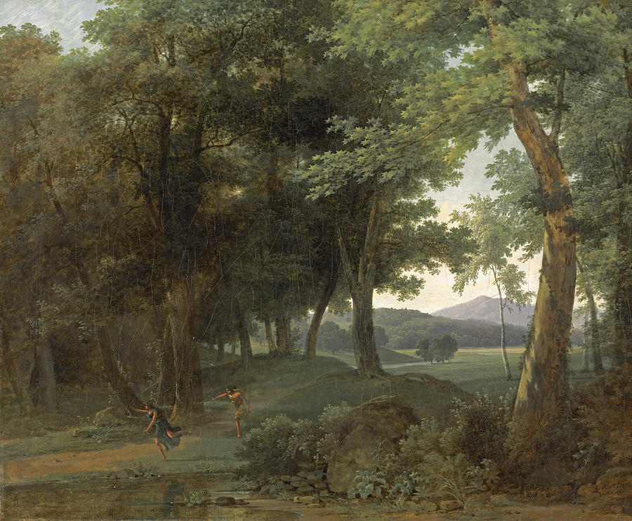 A Forest With Apollo And Daphne Painting By Jean Victor Bertin