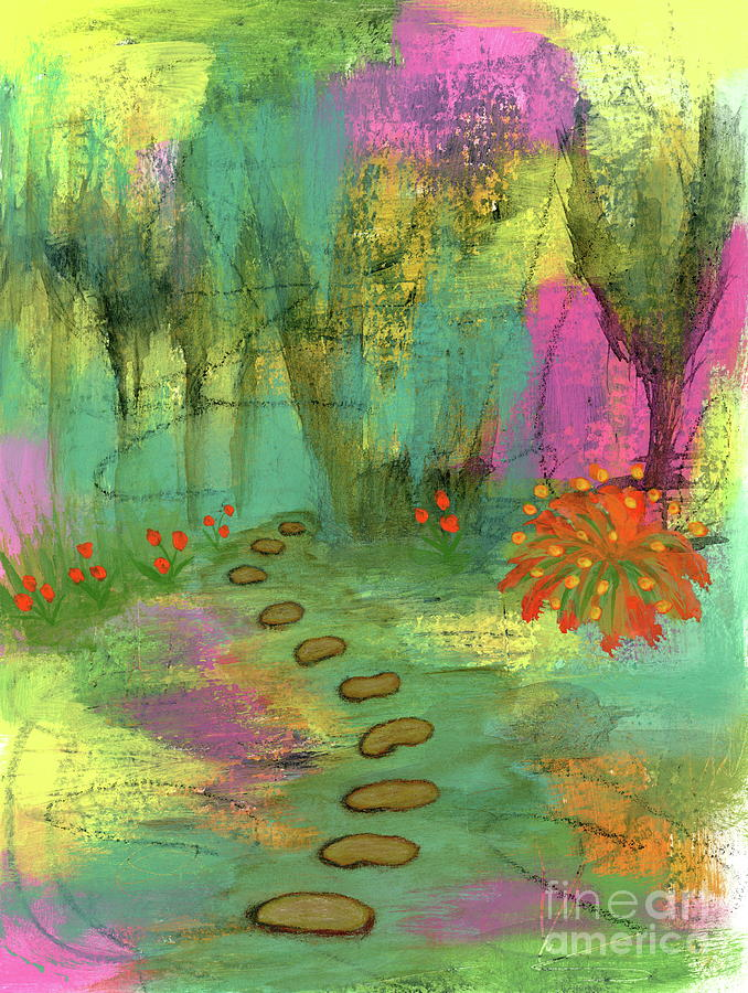 Abstract Garden Painting - A Fresh Start 1 Abstract Garden Botanical Painting by Itaya Lightbourne