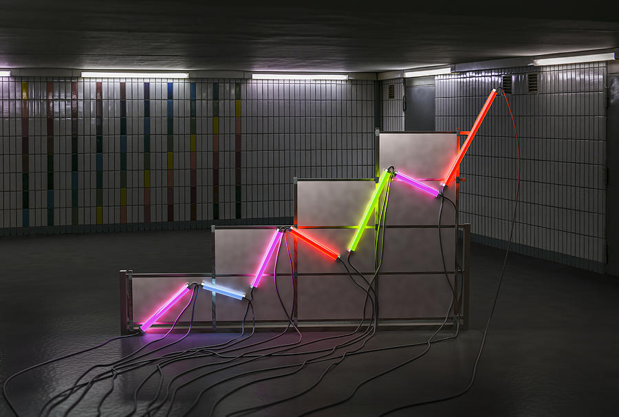 A graph made of neon tubes in a room Photograph by Jonathan Kitchen