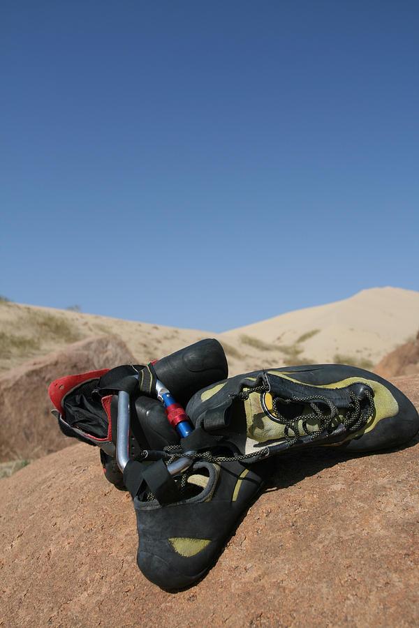 A Hiking equipment on Gobi Desert Photograph by MOAimage