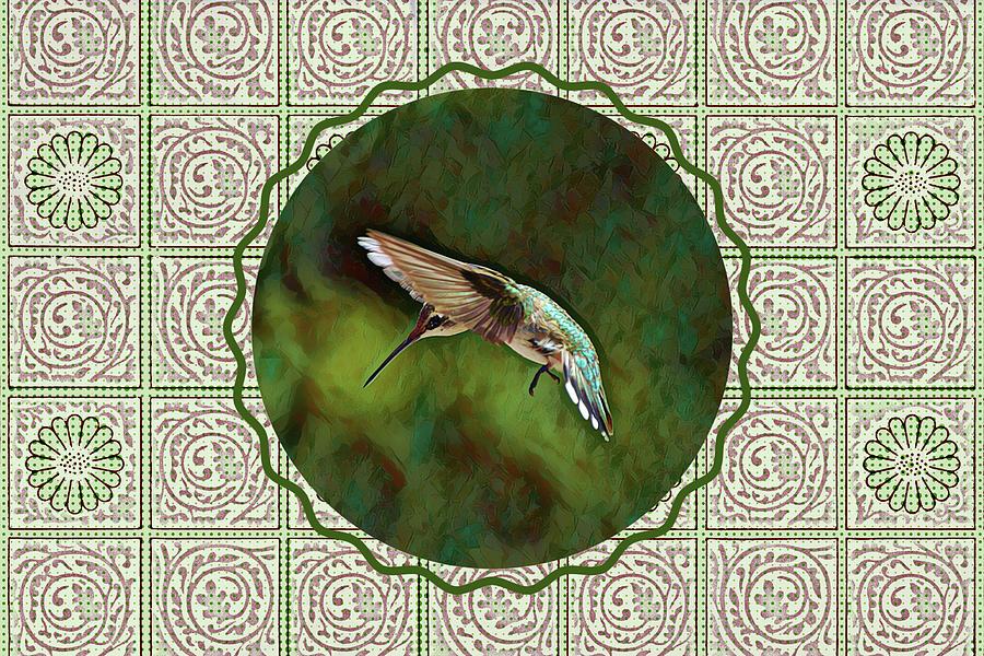 A Hummingbird Circle With Vintage Appeal Digital Art