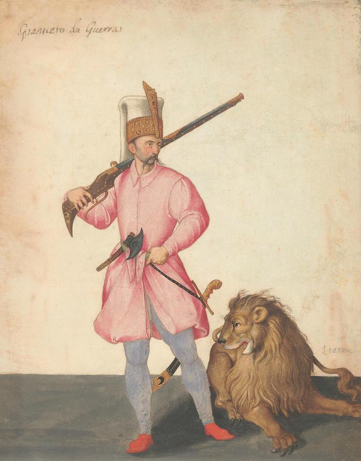 A Janissary of War with a Lion by Jacopo Ligozzi