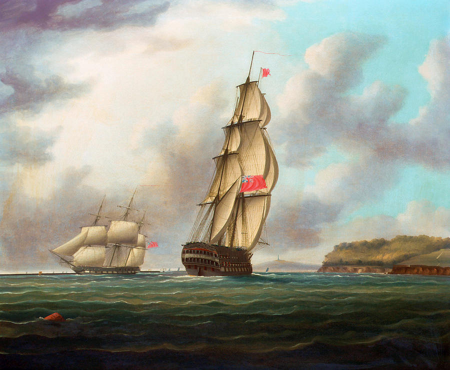 A Large Ship Of The Line Heading Into Plymouth Sound - Thomas Buttersworth Painting