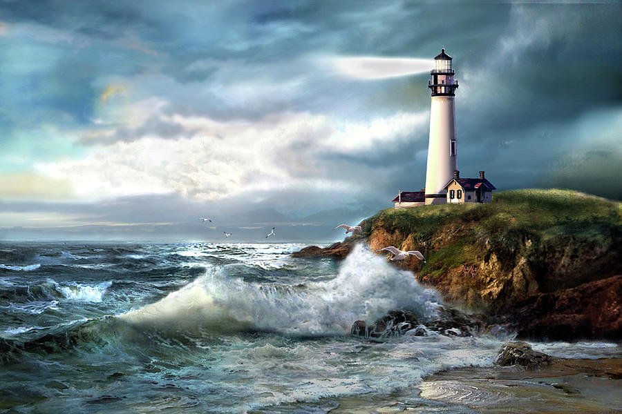 Seascape Painting - A Light of Hope, Pigeon Point Lighthouse  by Regina Femrite