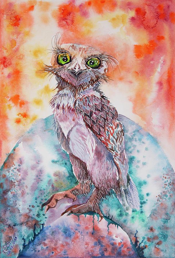 Owl Painting - A little bit crazy Burrowing Owl Jester by Varvara Medvedeva