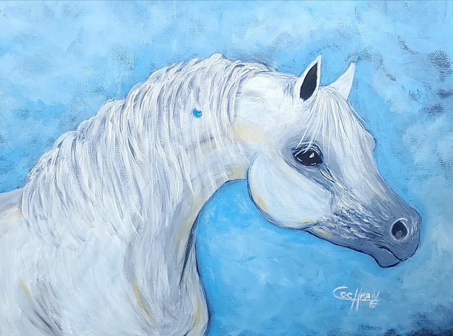 Horse Painting - A Little Bling by Diana Cochran