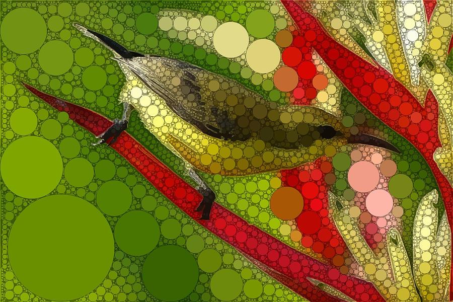 Green Digital Art - A Lively Bird by Dahl Winters